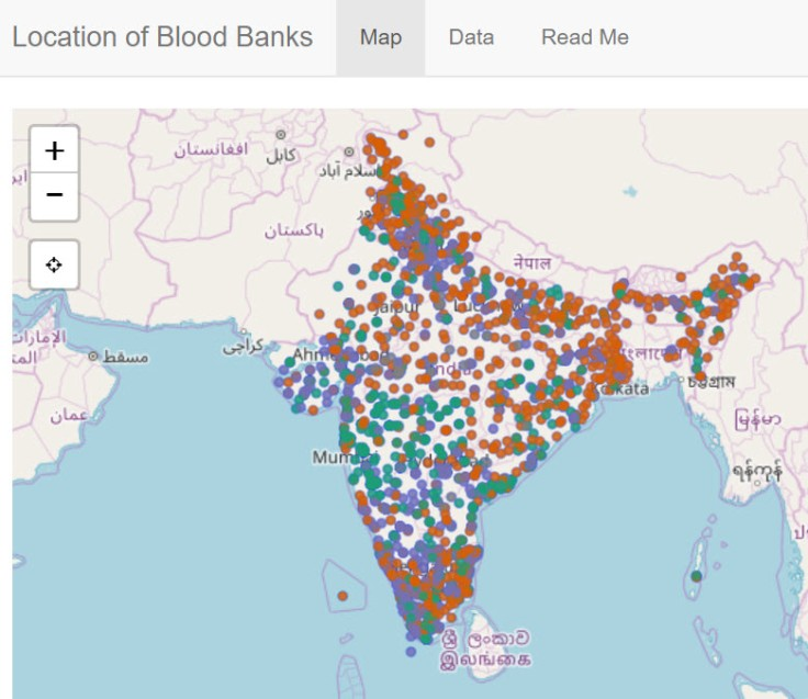 Location of Blood Banks in India