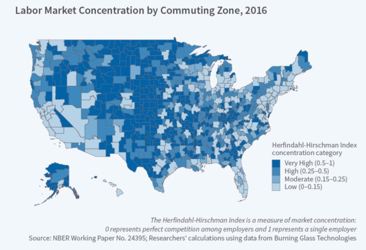 map showing market concentration in USA